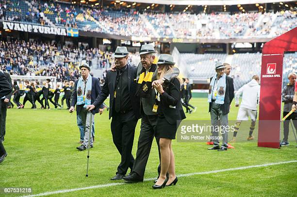 Former president of UEFA Lennart Johansson during the Allsvenskan match between AIK and Gefle IF at Friends arena on September 18 2016 in Solna Sweden