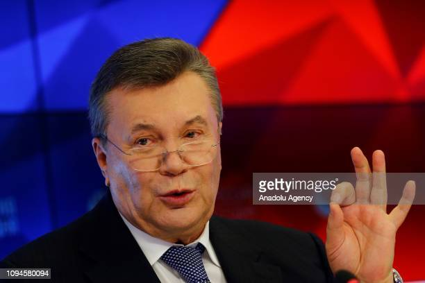 Former President of Ukraine Viktor Yanukovych, sentenced to 13 years of imprisonment, holds a press conference in Moscow, Russia on February 6, 2019.
