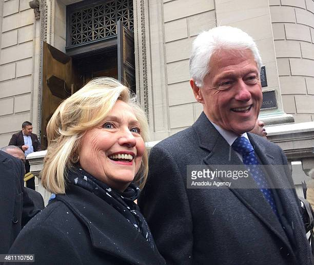 Former president of United States Bill Clinton and his wife former US Secretary of State Hillary Clinton leave St Ignatius Loyola Church after the...