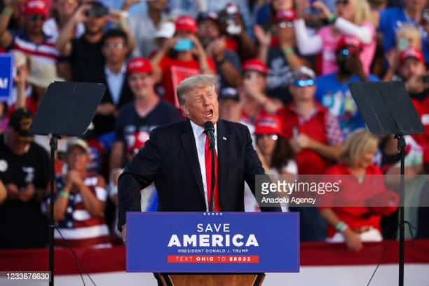 Former President of United States Donald Trump speaks to crowd gathered at the Lorain County Fair Grounds in Wellington, Ohio, United States on June...