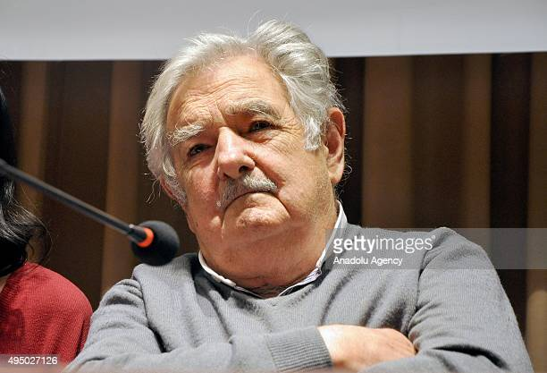 Former president of Uruguay Jose Mujica attends the event 'Mujica Meets Workers' on October 30 Istanbul Turkey