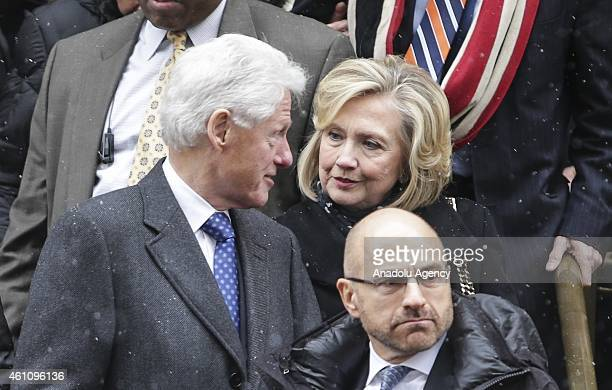 Former President of US Bill Clinton and his wife former secretary of the state Hillary Rodham Clinton are seen during the during the funeral of the...