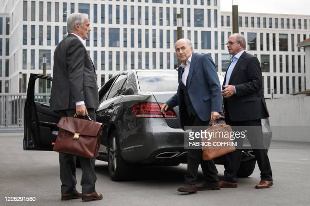 Former president of World football's governing body FIFA, Sepp Blatter arrives at the building of the Office of the Attorney General of Switzerland...