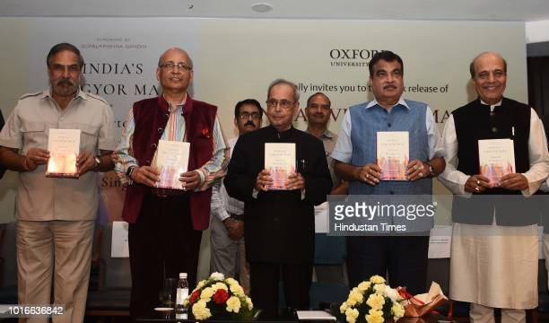 Former president Pranab Mukherjee releases the book 'India's Vibgyor Man Selected Writings and Speeches of LM Singhvi' in the presence of BJP leader...