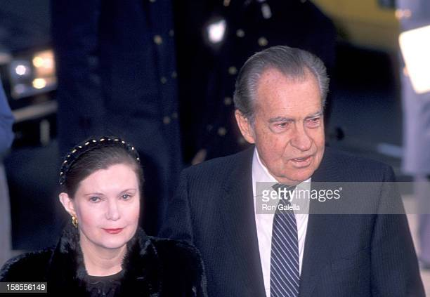 Former President Richard Nixon and daughter Tricia Nixon attend the Memorial Service for Malcolm Forbes on March 1 1990 at St Bartholomew's Church in...