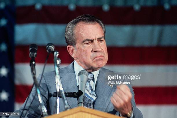Former president Richard Nixon in his first public appearance since resigning from the Presidency speaks to supporters
