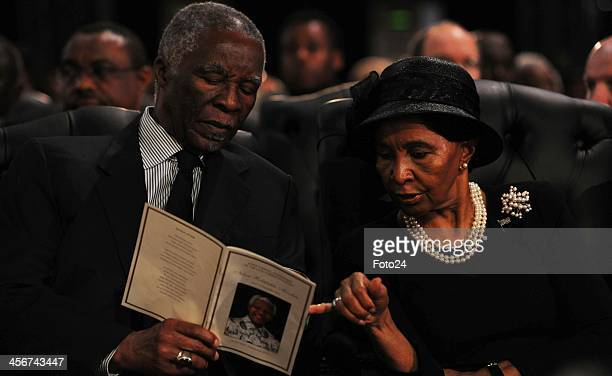 Former president Thabo Mbeki with his wife Zanele during Madiba's State Funeral on December 15 2013 in Qunu South Africa Nelson Mandela passed away...