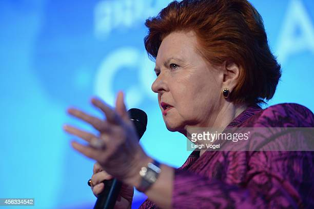 Former President to the Republic of Latvia Vaira VikeFreiberga speaks onstage at the 2014 Concordia Summit Day 1 at Grand Hyatt New York on September...