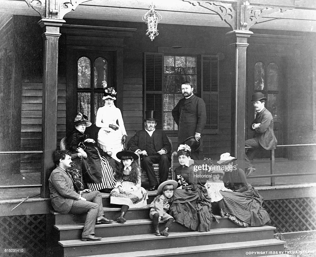 Ulysses S. Grant and Family on Porch Steps : News Photo