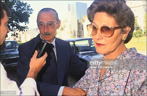 Former president Videla freed after amnesty with his wife Alicia Hartridge in Buenos Aires, Argentina on December 30, 1990.
