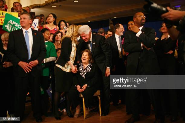 Former President William Clinton daughter Chelsea Clinton and motherinlaw Dorothy Rodham are photographed looking on as Senator Hillary Rodham...