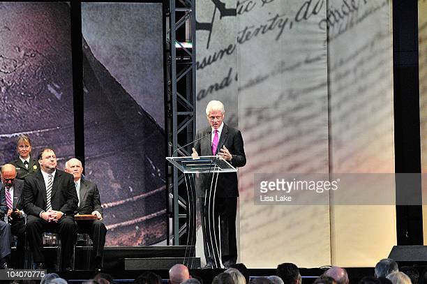 Former President William J. Clinton attends the 2010 Liberty Medal Ceremony at the National Constitution Center on September 13, 2010 in...
