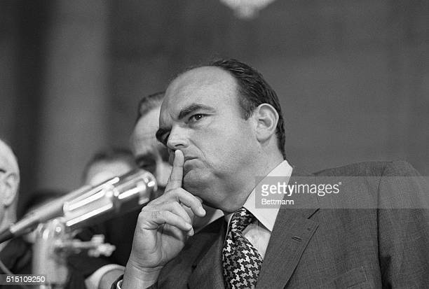 Former Presidential aide John D. Ehrlichman has a variety of expressions during his second day of testimony before the Senate Watergate Committee...