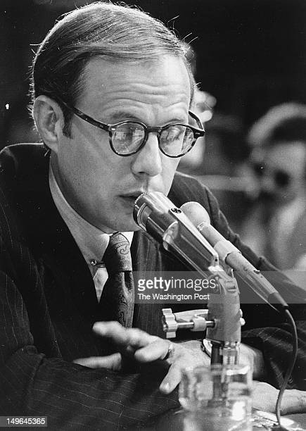 Former Presidential aide John Dean III testifies for the second day before the Senate Watergate Investigating Committee Photographed June 26 1973 in...