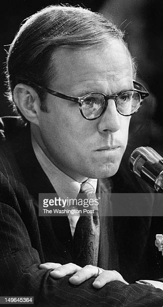 Former Presidential aide John W Dean III testifies for the second day before the Senate Watergate Investigating Committee Photographed June 26 1973...