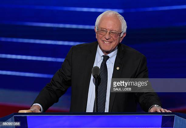 Former Presidential candidate and US Senator Bernie Sanders smiles during Day 1 of the Democratic National Convention at the Wells Fargo Center in...
