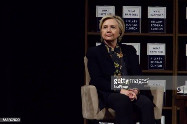 Former presidential candidate Hillary Clinton and Writer Jennifer Weiner discus the past elections on stage during a book tour stop at the Academy of...
