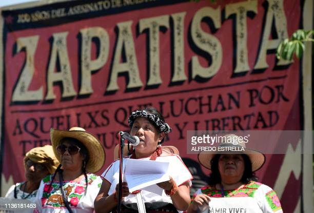 Former presidential candidate Maria de Jesus Patricio speaks during the Mexican heroe Emiliano Zapata's death anniversary in Chinameca community...