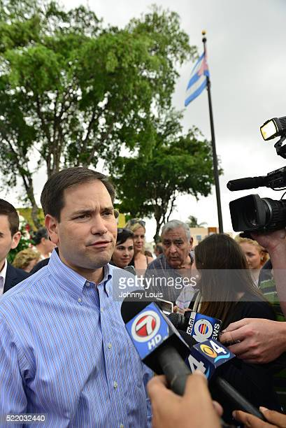 Former presidential candidates and US Senator Marco Rubio attends and speak at the Bay of Pigs invasion 55th anniversary honoring veterans at the...