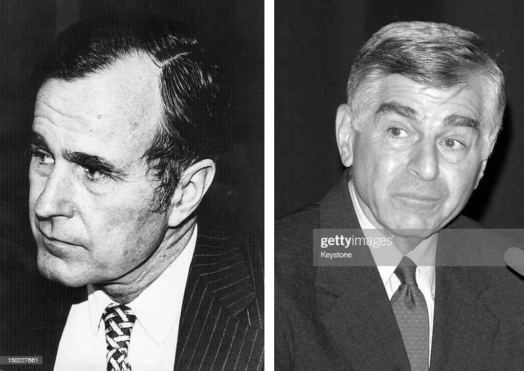 In this composite image a comparison has been made between former US Presidential Candidates George Bush (L) and Michael Dukakis. In 1988 George H. W. Bush won the presidential election to become the President of the United States. WESTWOOD, CA - MARCH 12: Former Presidential canidate Michael Dukakis speaks at the Hammer Museum on March 12, 2007 in Westwood, California.