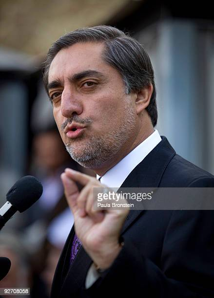 Former Presidential challenger Abdullah Abdullah speaks to the media during a press conference at his home on November 4 2009 in Kabul Afghanistan...