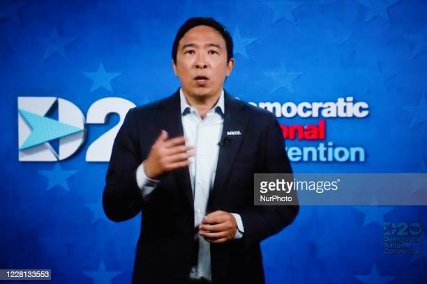 Former presidential hopeful Andrew Yang addresses the virtual 2020 Democratic National Convention, livestreamed online and viewed by laptop from the...