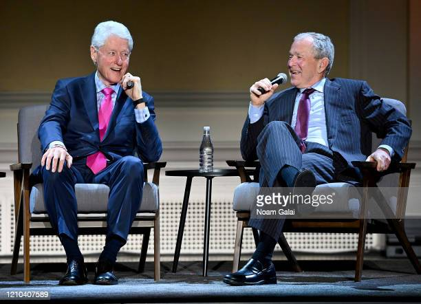 Former Presidents Bill Clinton and George W Bush speaks onstage HISTORYTalks Leadership Legacy presented by HISTORY on February 29 2020 in New York...
