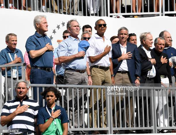Former Presidents Bill Clinton George W Bush and Barack Obama and PGA Tour Commissioner Jay Monahan Jack Nicklaus and Fred Couples Captains Assistant...