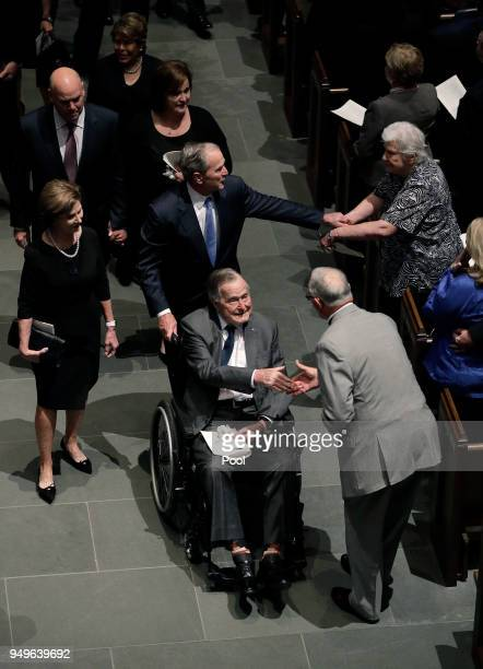 Former Presidents George HW Bush and George W Bush greet mourners after a funeral service for former first lady Barbara Bush at St Martin's Episcopal...