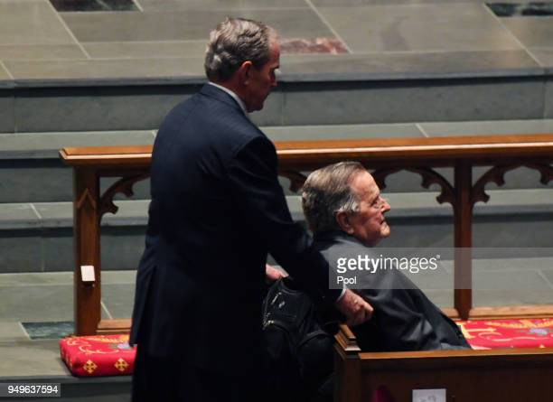 Former Presidents George W Bush and George HW Bush arrive during the funeral for former First Lady Barbara Bush at St Martin's Episcopal Church April...