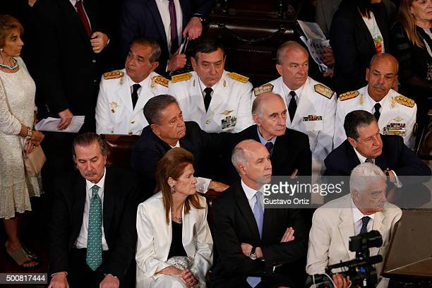 Former Presidents of Argentina Eduardo Duhalde Fernando de la Rua and Ramon Puerta are seen during the swearing in ceremony at Congress on December...