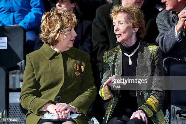 Former Presidents of Ireland Mary McAleese and Mary Robinson at the Easter Sunday Commemoration Ceremony and Parade from OConnell Street on March 27...