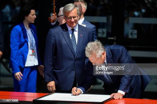 Former Presidents of Poland Bronislaw Komorowski and Aleksander Kwasniewski are seen during Freedom and Solidarity Days in Gdansk. Gdansk, in the...