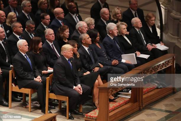 Former presidents vice presidents first ladies and President Donald Trump attend the state funeral for former President George HW Bush at the...