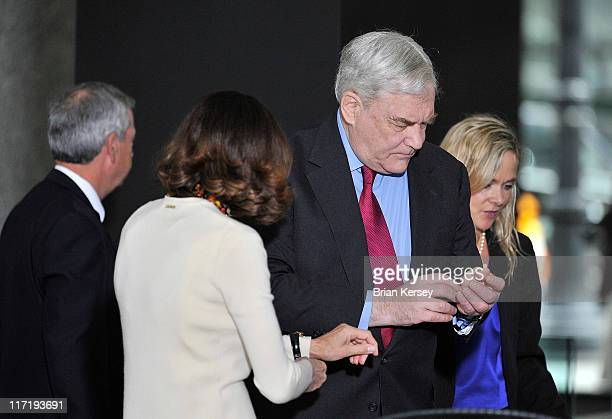Former press magnate Conrad Black and his wife Barbara Amiel arrive at federal court for a resentencing hearing on June 24 2011 in Chicago Illinois...