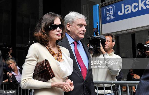 Former press magnate Conrad Black and his wife Barbara Amiel leave federal court where he was resentenced to 3 1/2 years in prison on June 24 2011 in...