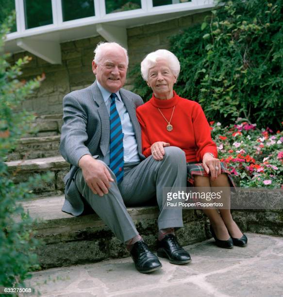 Former Preston North End and England footballer Sir Tom Finney, with his wife Lady Elsie, in the garden of their home in Preston, circa 1998.