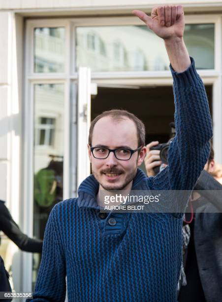 Former PricewaterhouseCoopers employee Antoine Deltour celebrates as he leaves the Luxembourg Court of Appeal on March 15 2017 in Luxembourg after...