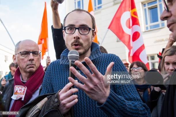 Former PricewaterhouseCoopers employee Antoine Deltour speaks as he leaves the Luxembourg Court of Appeal on March 15 2017 in Luxembourg after the...