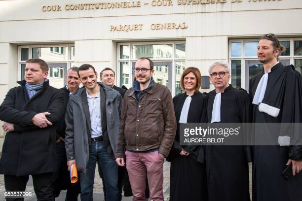 Former PricewaterhouseCoopers employees Antoine Deltour and Raphael Halet French investigative reporter Edouard Perrin and lawyers Philippe Penning...