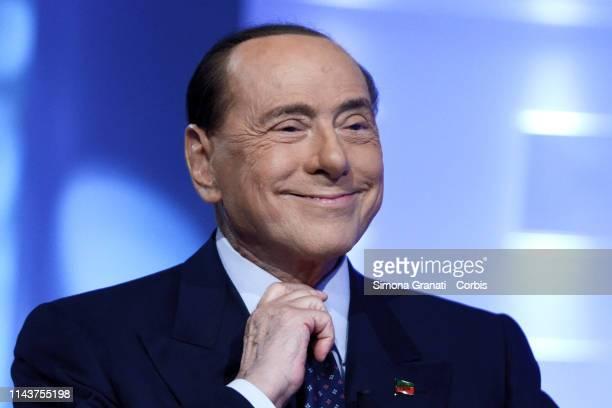 Former Prime Minister and leader of Forza Italia Silvio Berlusconi participates in the television show L' Aria che tira, on MAY 14, 2019 in Rome,...