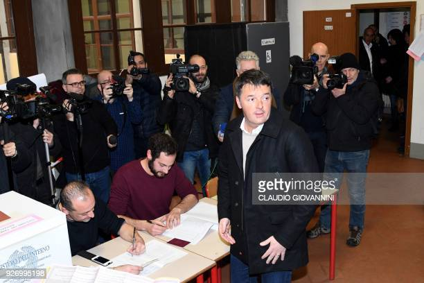 Former Prime Minister and leader of the Democratic Party Matteo Renzi arrives to vote on March 4 2018 at a polling station in Florence Italians vote...