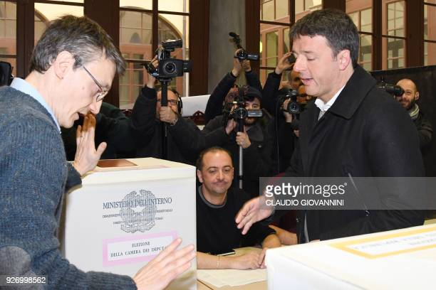 TOPSHOT Former Prime Minister and leader of the Democratic Party Matteo Renzi votes for general electionson March 4 2018 at a polling station in...