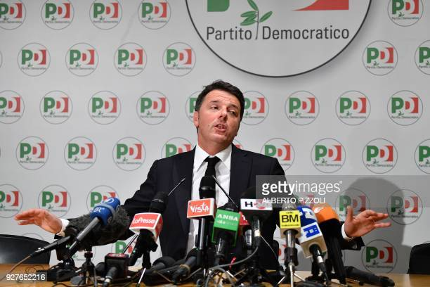 Former Prime Minister and leader of the Democratic Party Matteo Renzi gives a press conference a day after Italy's general elections on March 5 2018...
