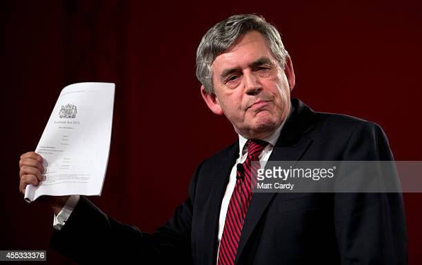 Former Prime Minister and leader of the Labour Party Gordon Brown speaks at a 'Get Out The Vote' campaign rally in support of the 'no' vote in the...