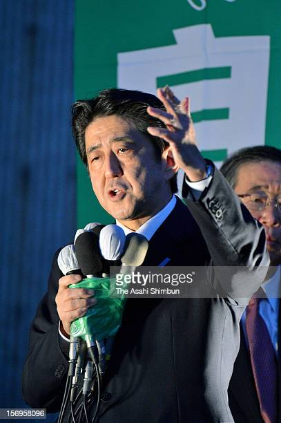 Former Prime Minister and opposition Liberal Democratic Party president Shinzo Abe makes a street speech on November 25 2012 in Tsu Mie Japan...