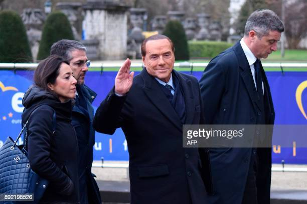Former Prime Minister and president of Italian rightwing party Forza Italia Silvio Berlusconi arrives to attend a meeting of the European People's...