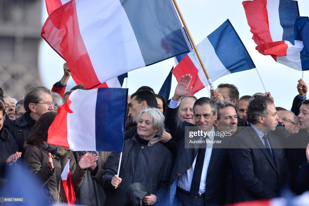 Former French Prime Minister And Candidate For French Presidential Elections Francois Fillon Holds A Rally Campaign In Paris