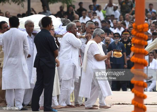 Former Prime Minister Atal Bihari Vajpayee's daughter Namita Kaul Bhattacharya granddaughter Niharika Bhattacharya and other family members perform...