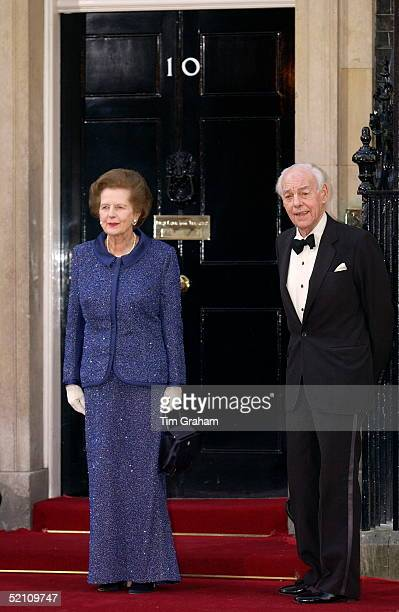 Former Prime Minister Baroness Margaret Thatcher And Her Husband Denis Thatcher Back At Number 10 Downing Street For The Queen's Golden Jubilee...